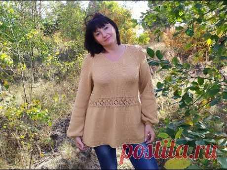 """Пуловер спицами """"Карамель"""". V-образная горловина. Часть 7. Фотоальбом"""