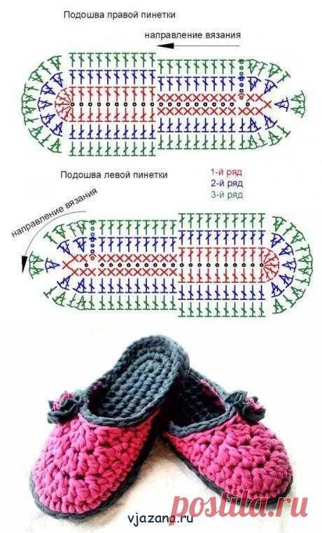 Тапочки вязаные крючком из трикотажной пряжи видео | Вязана.ru