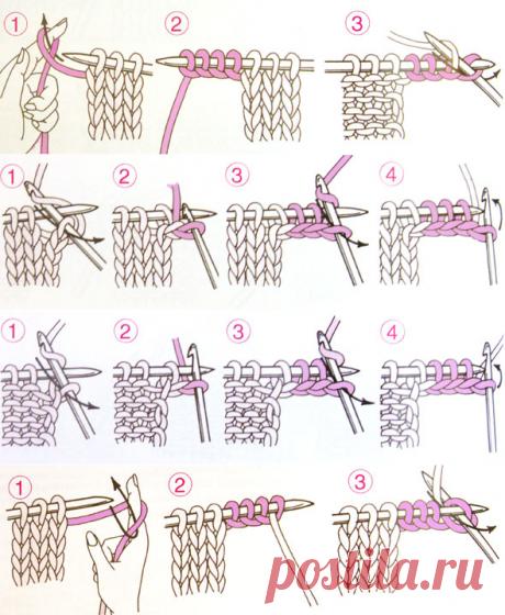 Прибавление нескольких петель по краю изделия | каталог вязаных спицами узоров
