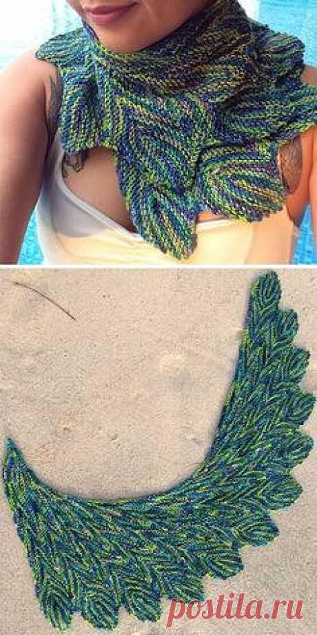 Вязанный шарф  перья павлина