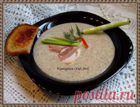 Суп-пюре грибной с сыром и беконом | Русская кухня