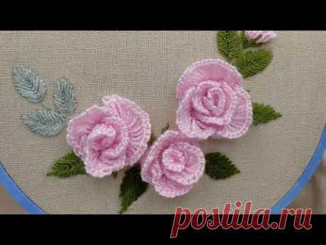 Объемная Вышивка: Розы из тонкой шерсти | How to make a rose wool