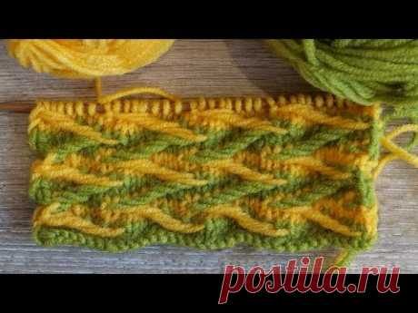 Двухцветный узор спицами – Ленивый жаккард «Зигзаг» | Two color Jacquard Stitch