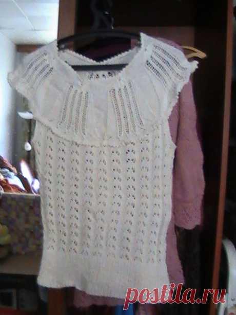 Блузка с кокеткой из лилий. из категории Мои работы – Вязаные идеи, идеи для вязания