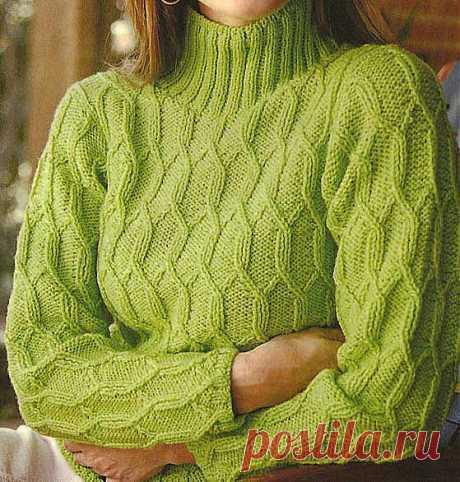 Вяжем на спицах женский пуловер цвета лайма