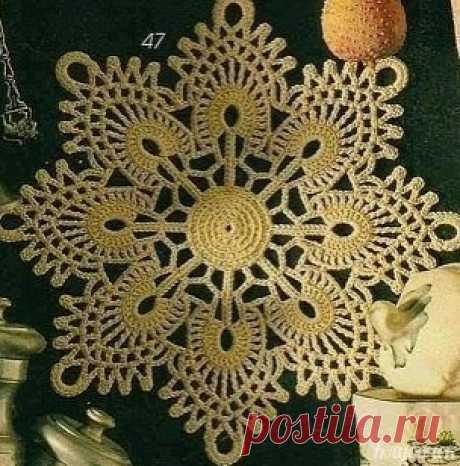 Милая салфетка, похожая на снежинку Милая салфетка, похожая на снежинкуМилая салфетка, похожая на снежинку, добавит нотки новогоднего праздника туда, где окажется.