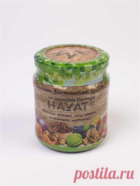 Фруктово-ореховая смесь с медом для поднятия иммунитета HAYAT. 600гр., ХАЯТ Уникальный энергетический комплекс, в котором содержится огромное количество витаминов, полезных веществ, необходимых организму для слаженной работы, энергии, хорошего настроения.Фруктово-ореховая смесь со специями - это абсолютно натуральный продукт, в его составе собрано 12 компонентов, 9 из них упоминается в Коране. Полезное действие смеси на организм сложно переоценить, вкусное угощение укрепля...