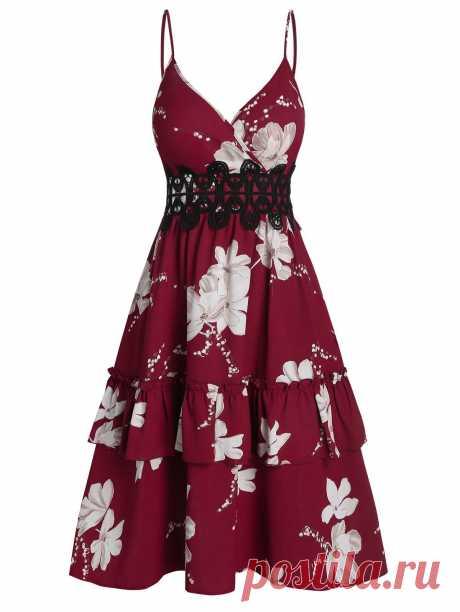 [34% OFF] 2020 Floral Pattern Ruffle High Waist Slip Dress In RED WINE | DressLily