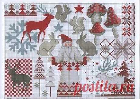 Схемы новогодних и Рождественских вышивок крестиком бисером
