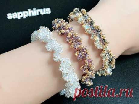 【ハンドメイド】DEMIビーズで編むフリルブレスレットの作り方 ビーズステッチ上級 How to make a bracelet with DEMI beads. like coral