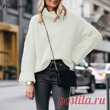 Серый свитер вафельным узором