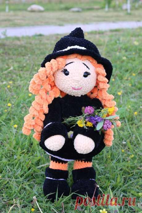 """мастер -класс крючком плюшевая куколка """"маленькая ведьмочка"""""""