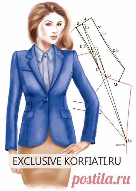 Пиджачный воротник на стойке — построение выкройки  https://korfiati.ru/2010/11/pidzhachnyiy-vorotnik-na-stoyke/  Выкройка пиджачного воротника на стойке используется при пошиве как мужских, так и женских пиджаков, жакетов и пальто. Форма лацкана, а также его размер могут быть разными и зависят от дизайнерского решения изделия. Также может меняться ширина воротника и форма его углов. В этом уроке мы покажем как построить выкройку пиджачного воротника с цельнокроеной и отре...