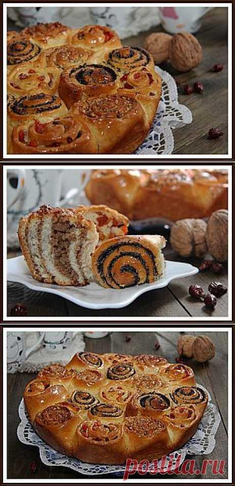 """Дрожжевой пирог с тремя начинками """"Семейный"""" - рецепт."""
