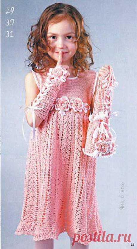 """""""Волшебное кружево"""" для маленькой модницы.  Есть описание вязания модели."""