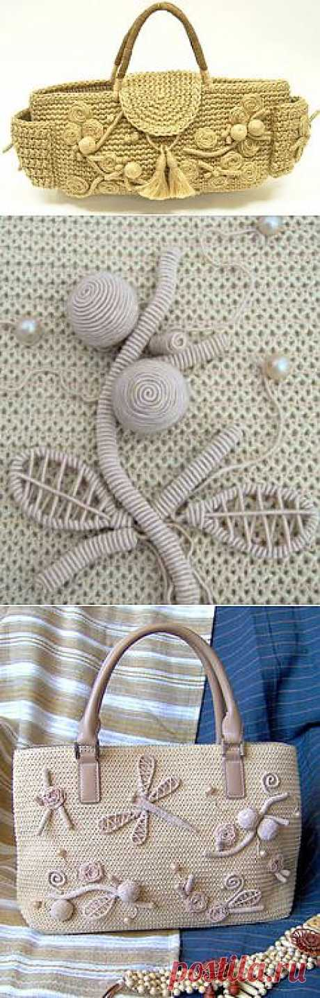 BEAUTIFUL HANDBAGS WITH THE DECOR FROM THE BRAIDED WIRE.