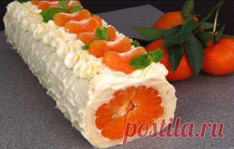 Праздничный рулет с мандаринами без грамма муки. Обалденный не только на вид, но и на вкус!