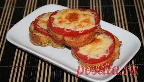 Вкусный завтрак - Гренки с помидорами и сыром