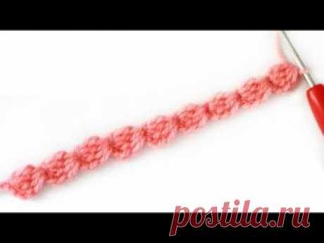 Наборный ряд из шишечек крючком / Вязание