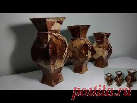Conjunto de 3 vasos feito com caixa de leite e filtro de café! - YouTube