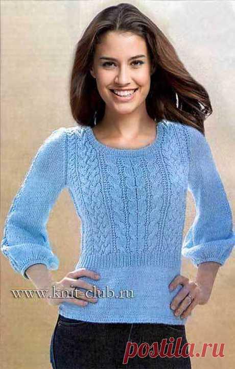 Женский пуловер. Вязание спицами