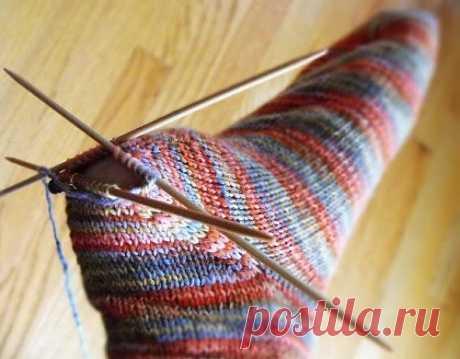 Вязание заменяемой пятки носка спицами