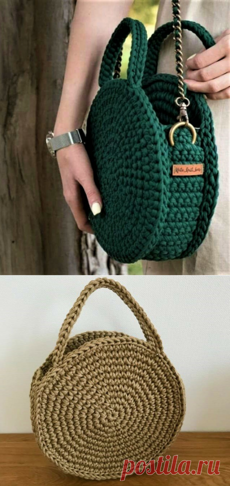 Простейший способ связать круглую сумку своими руками   Идеи рукоделия   Яндекс Дзен