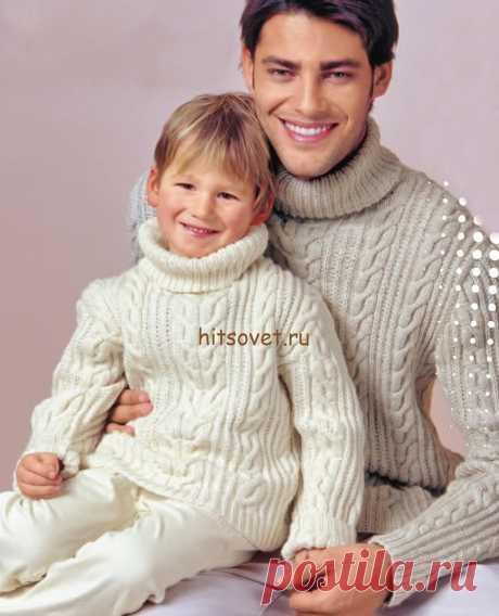 Свитер для папы и сына - Хитсовет Свитер для папы и сына. Стильный свитер с косами для папы и сына со схемой и пошаговым описанием вязания. Вам потребуется для детского свитера: 500 (550) грамм белой; для мужского свитера: 850 (900) грамм светло-серой пряжи Schachenmayr Regia Silk в 6 нитей, состоящей из 55% шерсти, 25% полиамида, 20% шёлка, длиной нити 125 метров в 50 граммах; спицы № 2,5 и № 3; чулочные спицы № 2,5.