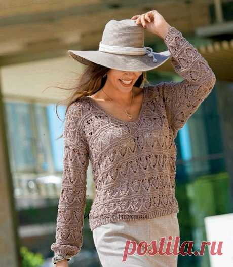 Пуловер спицами + видео МК узора