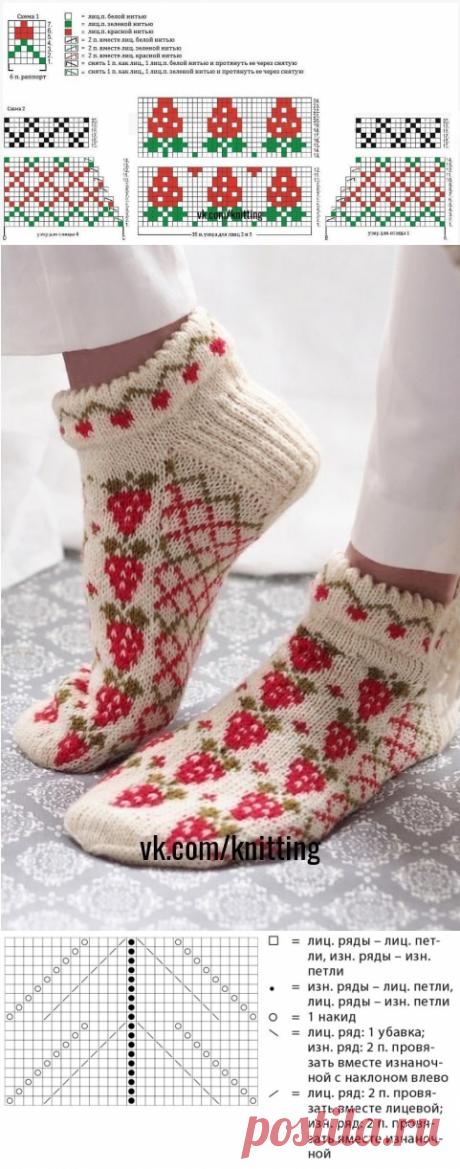 Прикольные носки–тапочки с жаккардовым узором (Вязание спицами)