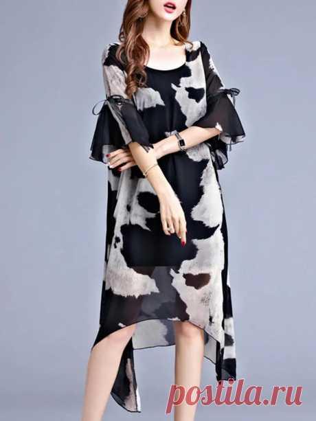 Women Chiffon Printed Flared-Sleeve Bowknot Irregular Hem Dress - US$26.99