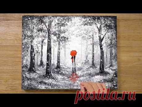 'Red Umbrella' Cotton Swabs Painting Technique #420 - YouTube