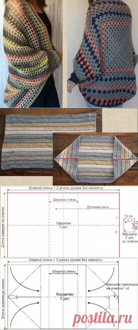 Вязание кардигана-кокона