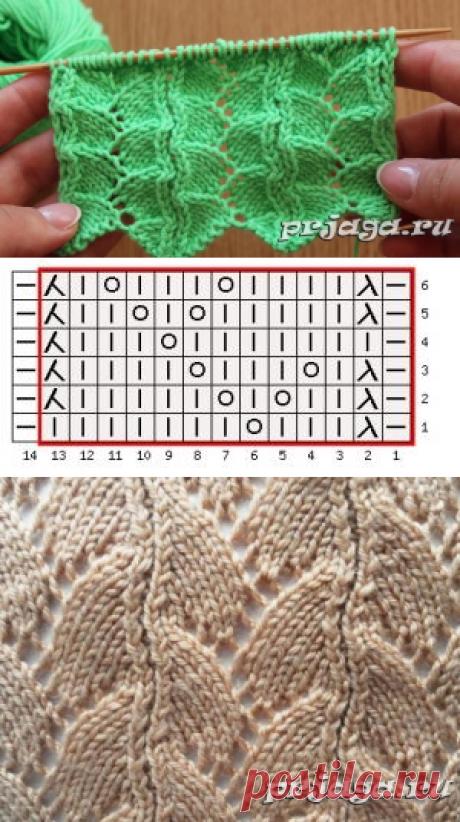 Интересный узор спицами с волнистым наборным краем
