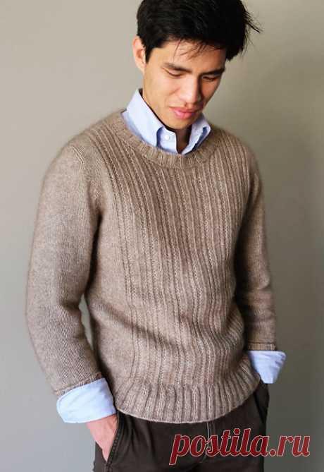 Мужской пуловер спицами Haskins - Вяжи.ру