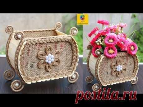 ВАЗа цветка дии с ручками джута и эскимо   корзиной цветка джута / самое лучшее из Неныжного корабля джута