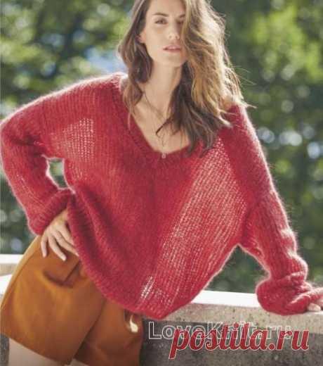 Пуловер оверсайз с V-образным вырезом схема спицами » Люблю Вязать