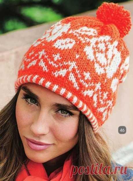 Женская шапка с цветочным жаккардом спицами с орнаментом розы | Вязание Шапок - Модные и Новые Модели