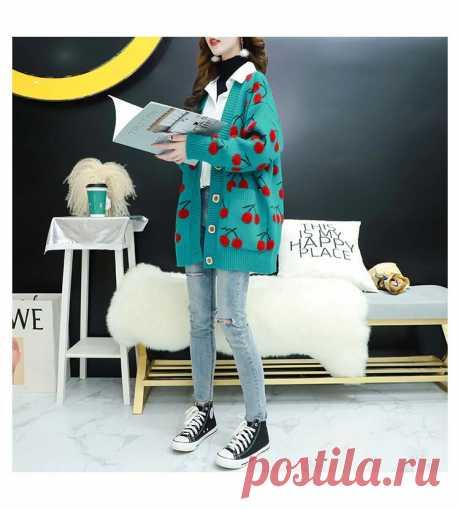 Женский вязаный свитер Vangull, однобортный кардиган с длинными рукавами, свободный свитер в Корейском стиле.
