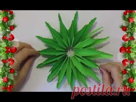 Простая оригами 3D снежинка-ёлочка из бумаги 🎄 новогодний декор-украшения мастер класс 🎄поделки