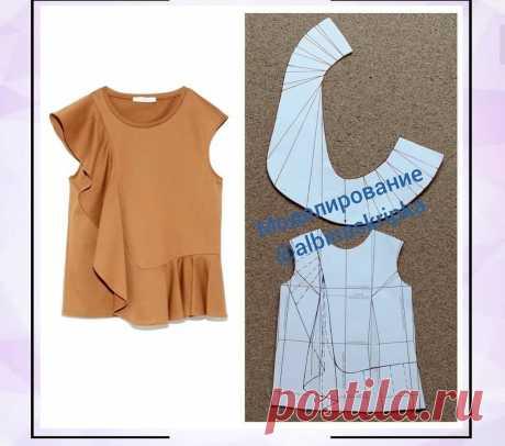 Ассимметричная блузка с воланом — Сделай сам, идеи для творчества - DIY Ideas