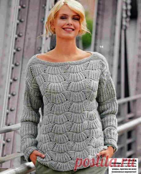 """Пуловер с """"веерным"""" узором. Схема спицами"""