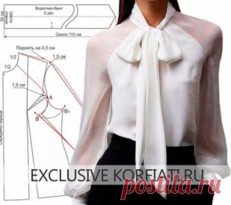 Выкройка блузки с бантом и рукавом-реглан
