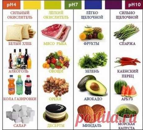 Какие продукты называются кислыми, а какие щелочными? Как они влияют на здоровье человека.