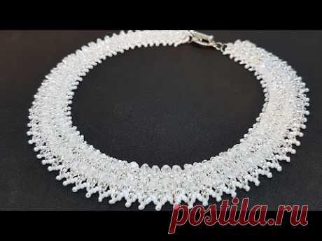 Beaded crystal necklace/Bicone necklace/Diy necklace/Beaded necklace/Колье из бисера/Колье из бусин/