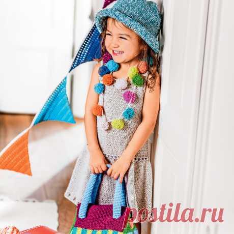 Платье с «шишечками» и ажурным узором - схема вязания спицами с описанием на Verena.ru