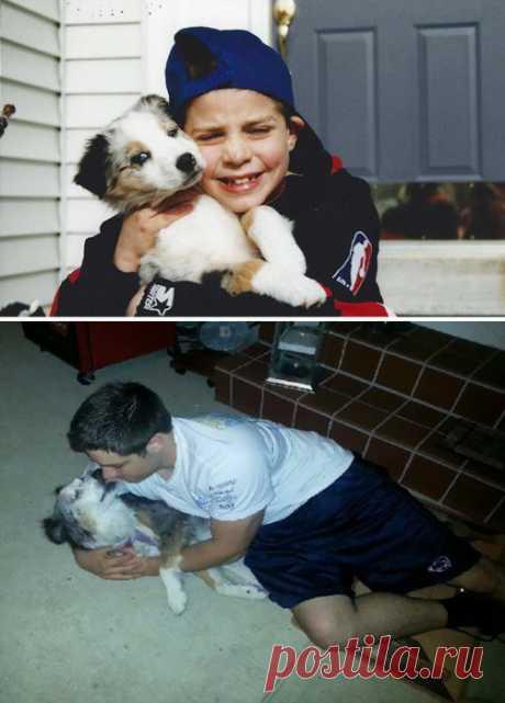 До и после: 24 фотографий собак, которые выросли вместе со своими владельцами