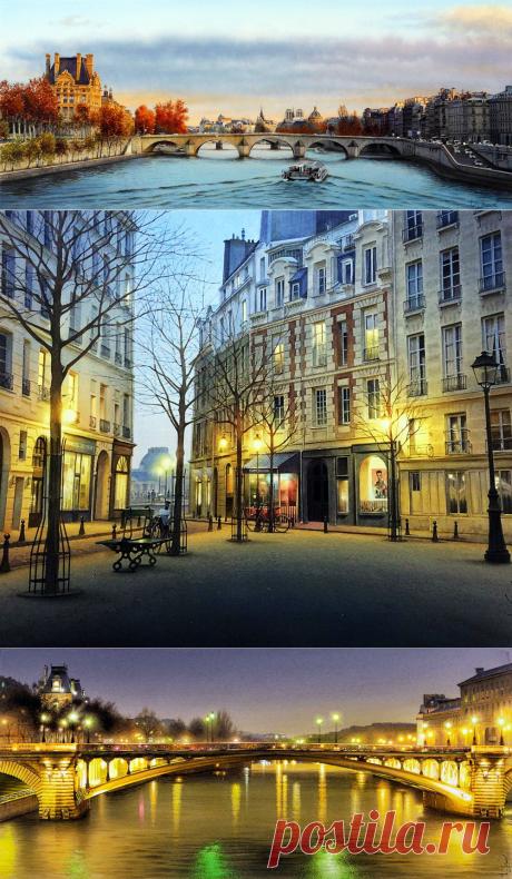 Акварели Тьерри Дюваля (Thierry Duval). Часть 1. Париж. Париж...