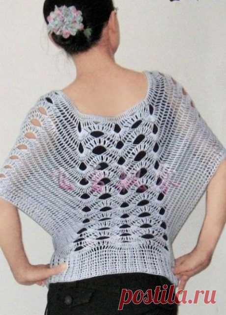 Пуловер крючком вязаный по кругу. Интересный узор для пуловера крючком |