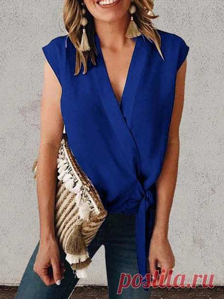 Women Sleeveless Solid Color Bandage Casual Tank Tops - US$16.99